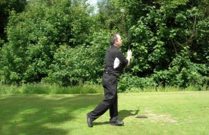 John Higgins on the 1st tee at Crow Wood